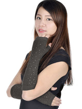 Long Knitted Stretchy Fingerless Gloves w/ Rhinestones
