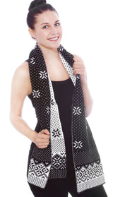 Reversible Snowflake Knit Winter Scarf