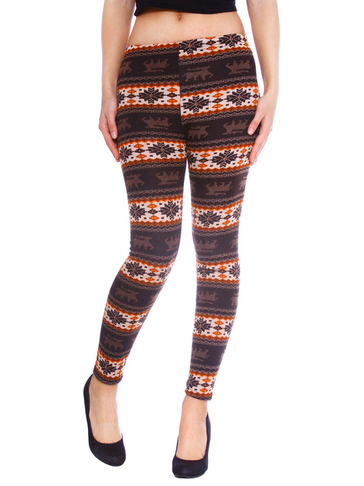 Large Snowflake & Reindeer Printed Leggings