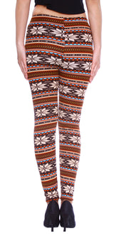 Snowflake & Stripe Patterned Leggings