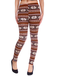 Women's Nordic Snowflake Reindeer Knitted Fleece Lined Leggings