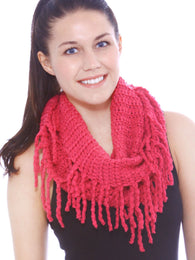 Knitted Infinity Scarf w/ Tassels