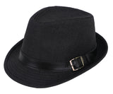 Panama Style Trilby Fedora Straw Sun Hat with Leather Belt