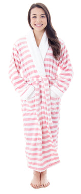 Women's Plush Kimono Bathrobe with Pockets