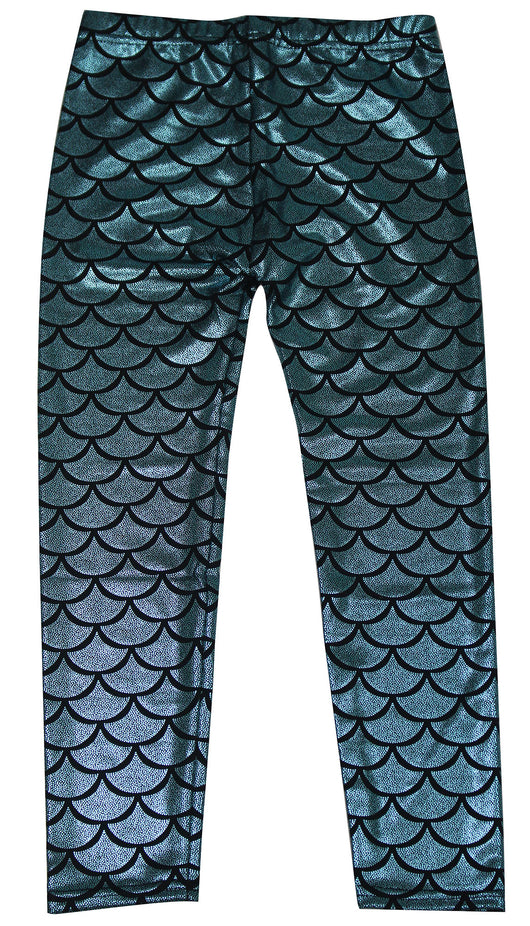 Girl's Glittery Mermaid Fish Scale Print Leggings Pants 4-6 Years