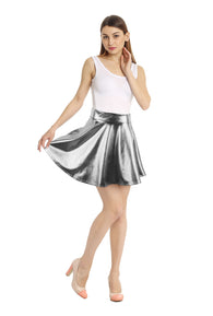 Simplicity Women's Metallic Ballet Dance Flared Skater Skirt Fancy Dress