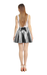 Women's Metallic Ballet Dance Flared Skater Skirt Fancy Dress