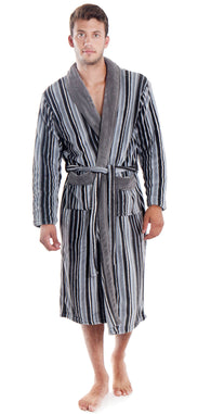 Mens Plush Bath Robe with Pockets, Striped