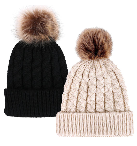 2 Pcs Womens Winter Knit Faux Fur Pompoms Beanie Hat