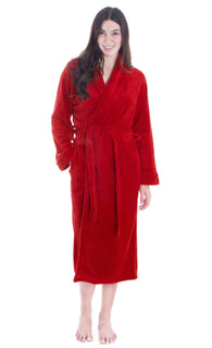 Men/Women Luxurious Plush Kimono Bathrobe with Side Pockets