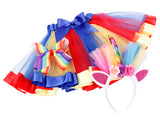 Girls Rainbow Tutu Skirt w/ Unicorn Headband & Hair Bow