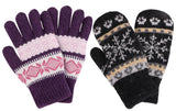 Women's Winter 2 Pairs Accessory Snowflake Mittens & Gloves Set