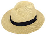Summer Panama Hat Men Women Straw Fedora Beach Travel Wide Brim Sun Cap