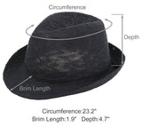 Lightweight Packable Foldable Straw Fedora Hat Beach Sun Hat
