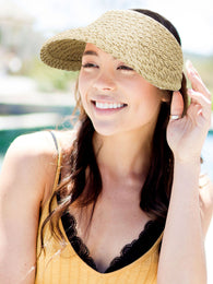 Women's Wide Brim Roll-up Foldable Straw Sun Visor Hat