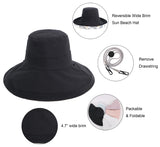 Women's UPF 50+ Foldable Floppy Reversible Wide Brim Sun Hat