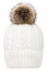 Women's Winter Soft Knit Beanie Hat with Faux Fur Pom Pom