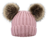 Kids Pom Pom Hat Fleece Girls Winter Beanie Hat