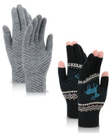 2 Pairs Women's Winter 3 Finger Touchscreen Sensitive Double Layered Knit Gloves