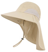 UPF 50+ Unisex UV Sun Protect Travel Foldable Bucket Sun Hat w/ Neck Flap & Chin Strap