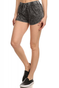 Solid Colored Summer Drawstring Shorts, Black Bleached