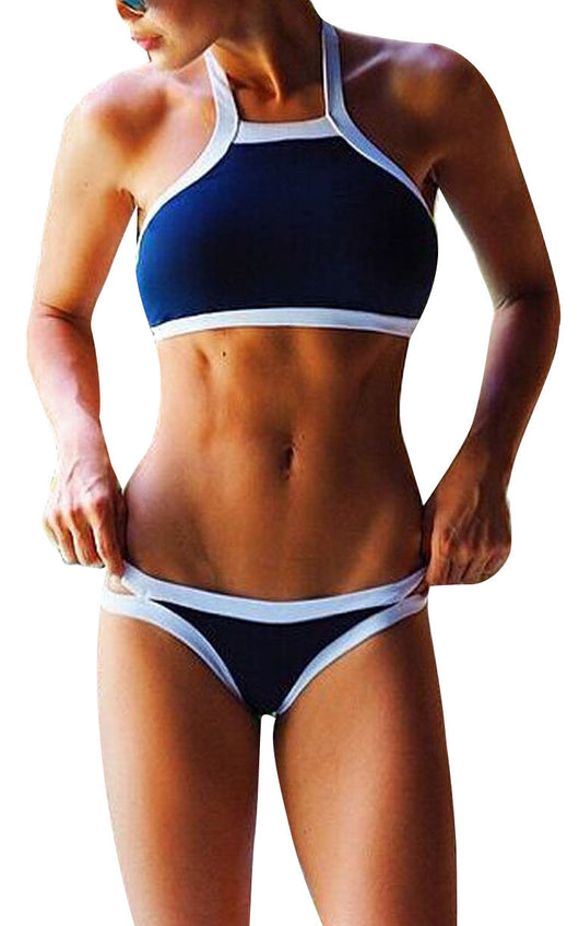 Blue High Neck Racerback Bikini Set w/ White Trim