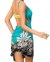 Floral Print Beach Cover-up Swimwear Wrap, Blue