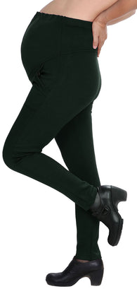 Forest Green Cotton Maternity Stretchy Leggings