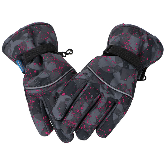 Kid's 3M Thinsulate Waterproof Gloves, Black/Pink Splatter