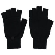 Winter Fingerless Gloves With Mitten Flap Cover
