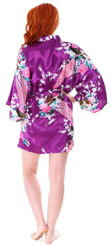 Peacock & Floral Print Knee Length Kimono Robe, Purple