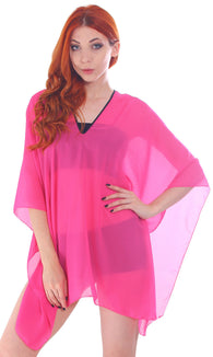 Chiffon Sheer Summer Beachwear Cover-Up, Rose