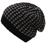 Men's Cotton Acrylic Two-toned Ribbed Beanie, Black/Gray