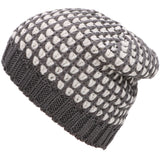 Men's Cotton Acrylic Two-toned Ribbed Beanie, Grey/White