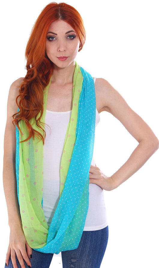 Double Sided Polka Dot Infinity Scarf, Green-Blue