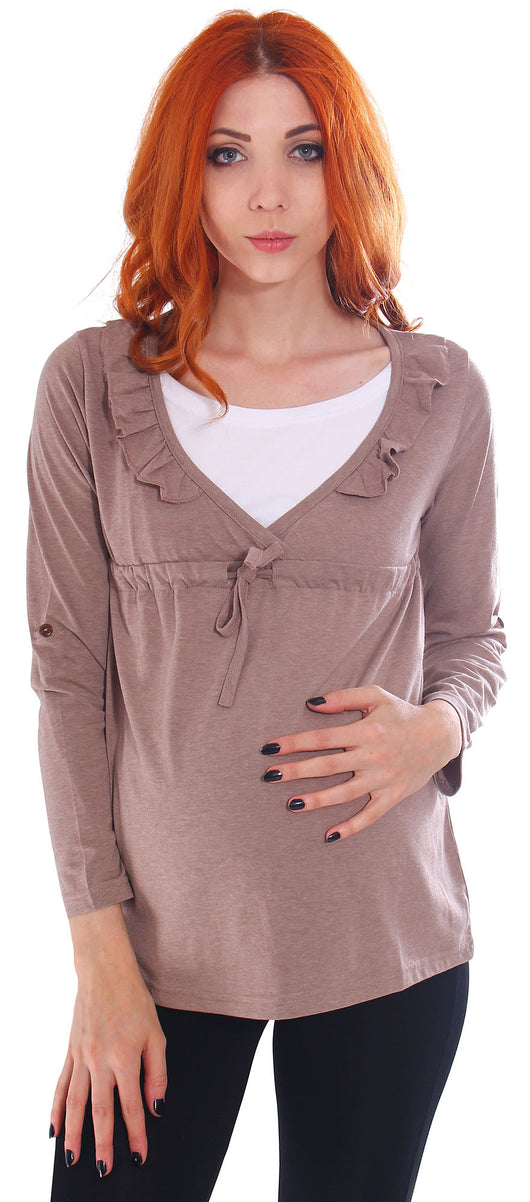 Empire Waistline Drape Cross V Front Maternity and Nursing Top