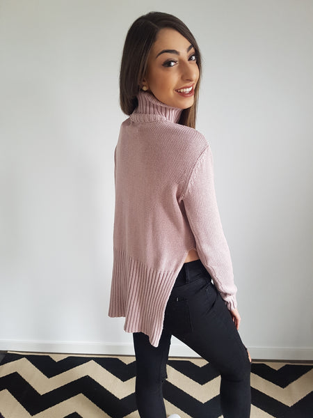 Split Me Sideways Roll Knit - Rose Pink
