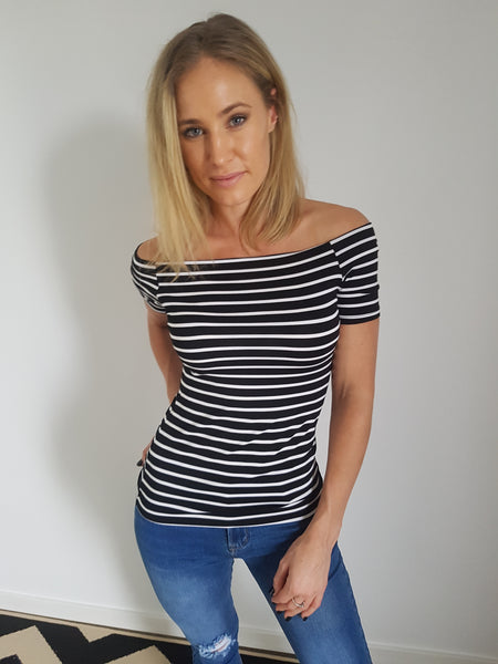 Nicol Top - Black and White Stripe