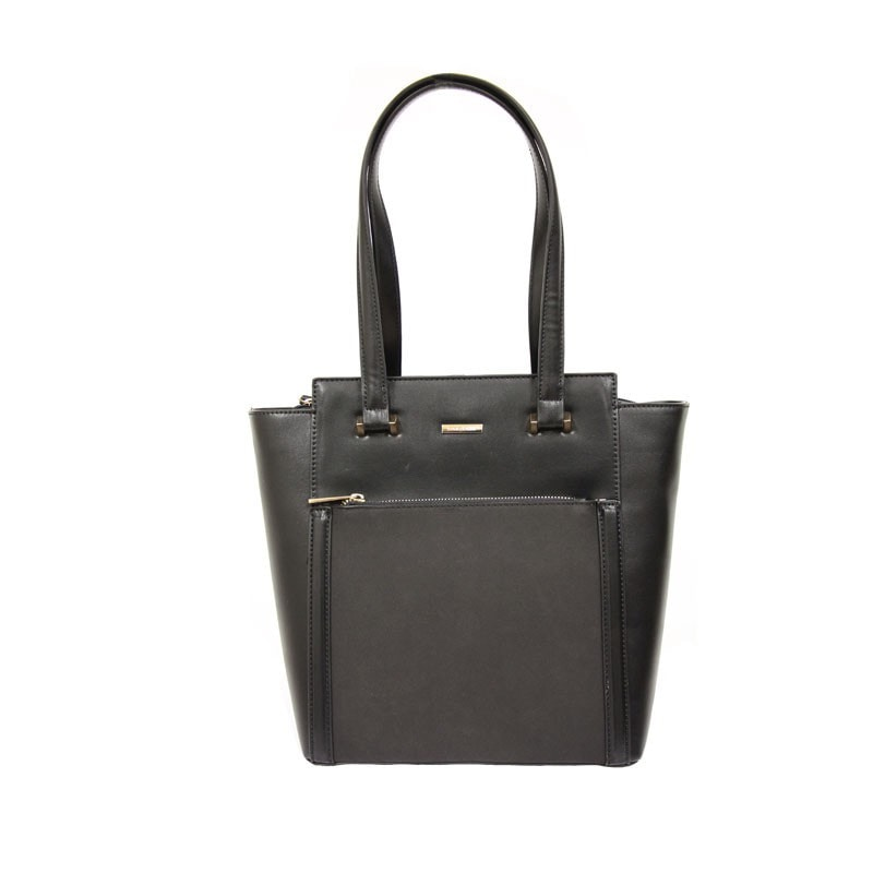 David Jones Structured Tall Tote Shopper with Pocket Detailing in Black