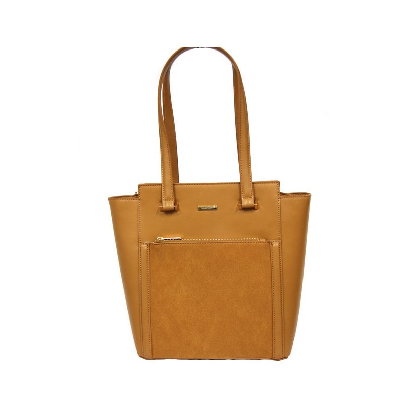David Jones Structured Tall Tote Shopper with Pocket Detailing in Caramel