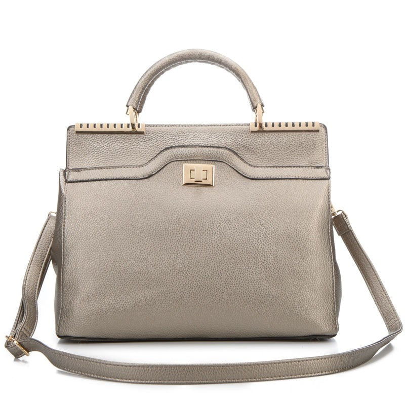 Long & Son Ladies Structured Handbag with Gold Detailing  Silver