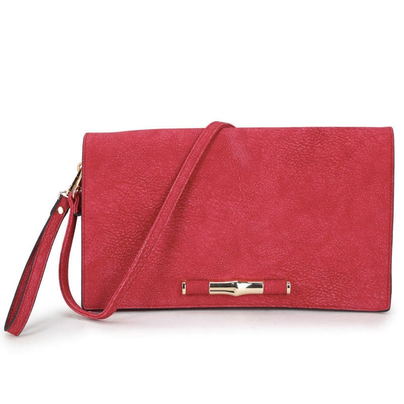Long & Son Ladies Large Flap Over Clutch Bag Red