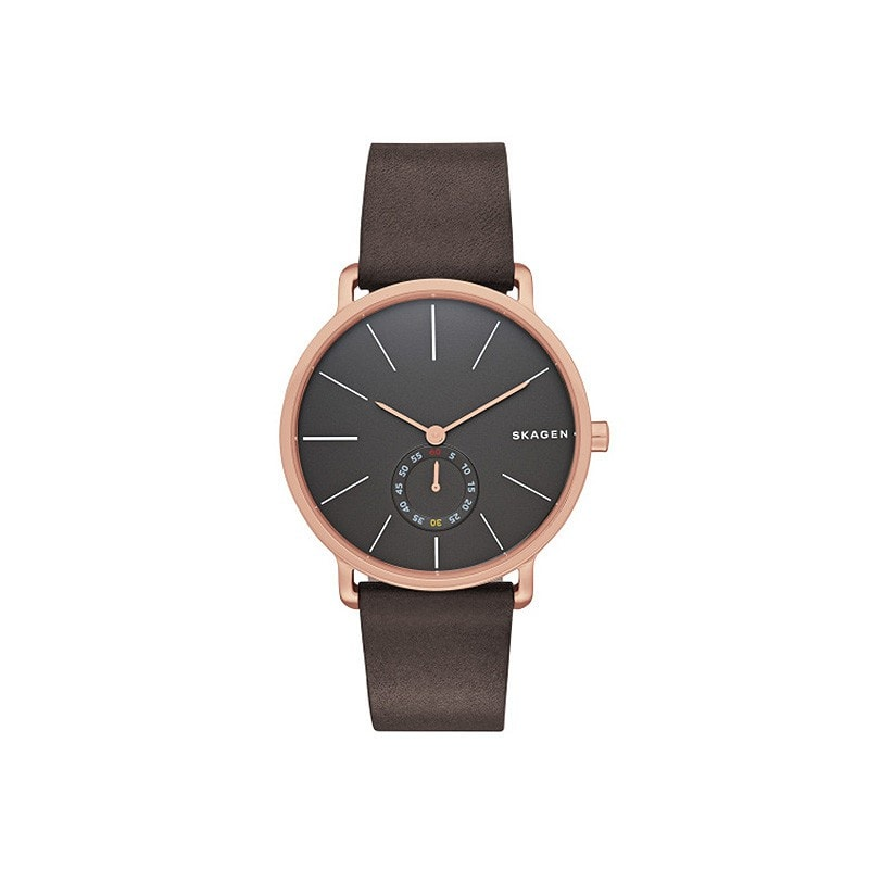 Skagen Men's Hagen Rose Gold / Leather Watch