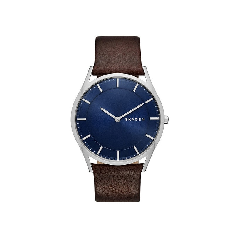 Skagen Men's Holst Dark Brown Leather Watch