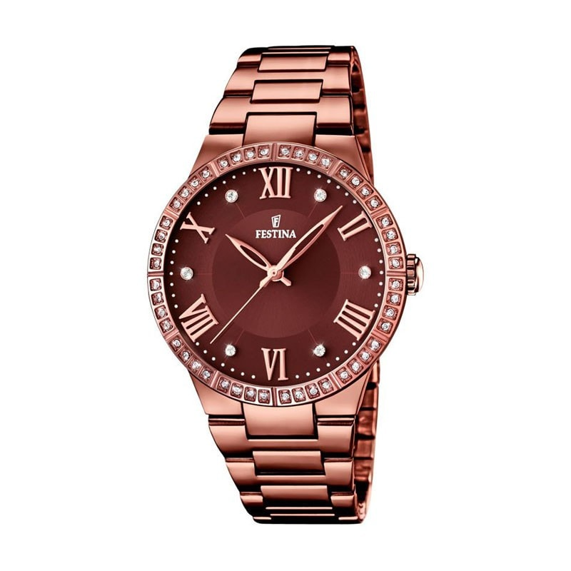 Festina Ladies Chocolate IP Plated Watch with Steel Strap F168012