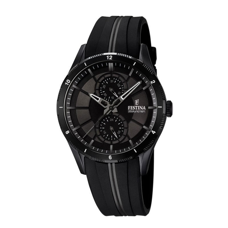 Festina Mens Black PVD Plated Multifunction Watch with Rubbe