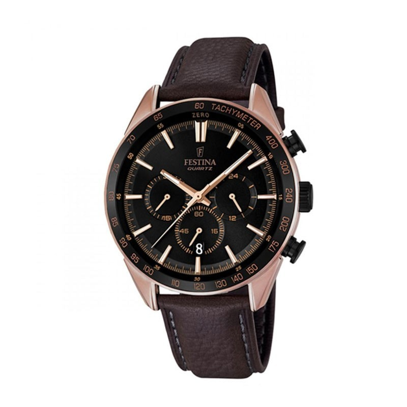 Festina Mens Rose Gold Plated Chrono Watch with Leather Str
