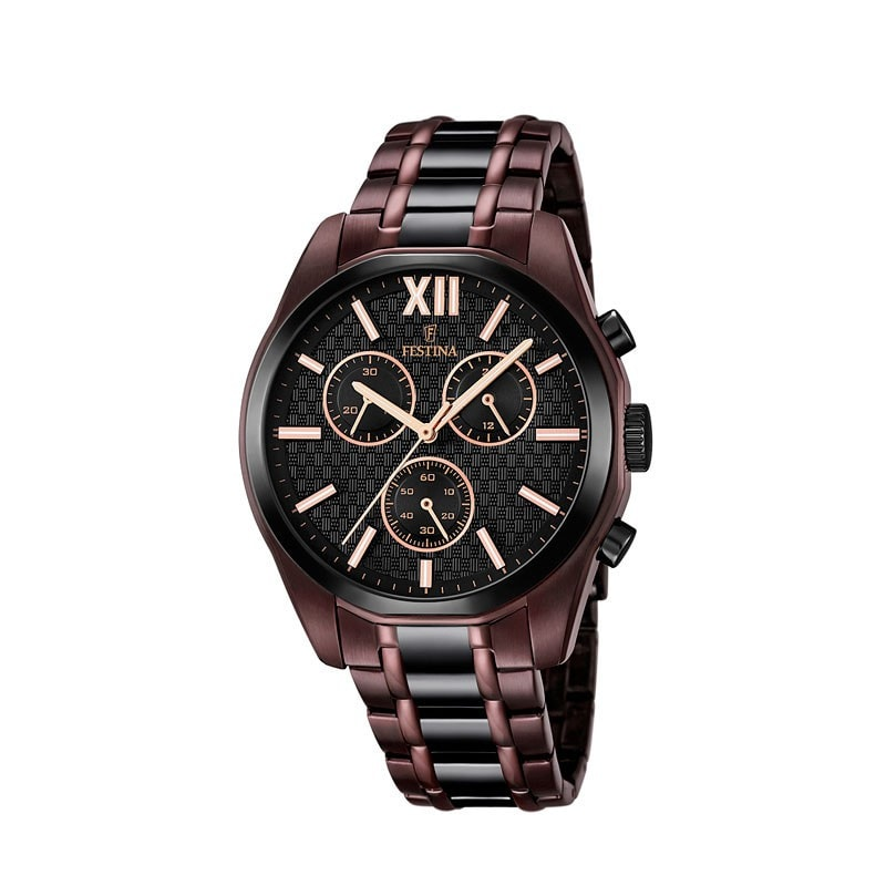 Festina Mens Brown-Black PVD Plated Chrono Watch with Steel