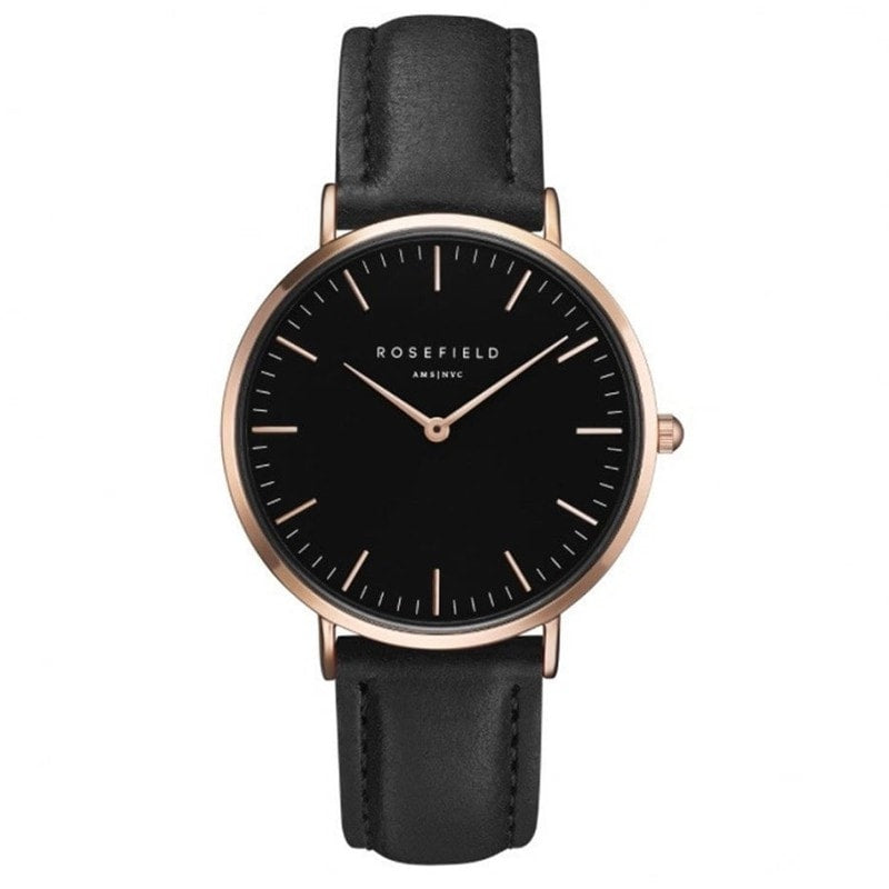 Rosefield Bowery Black with Rose Gold on Black Leather Strap Watch