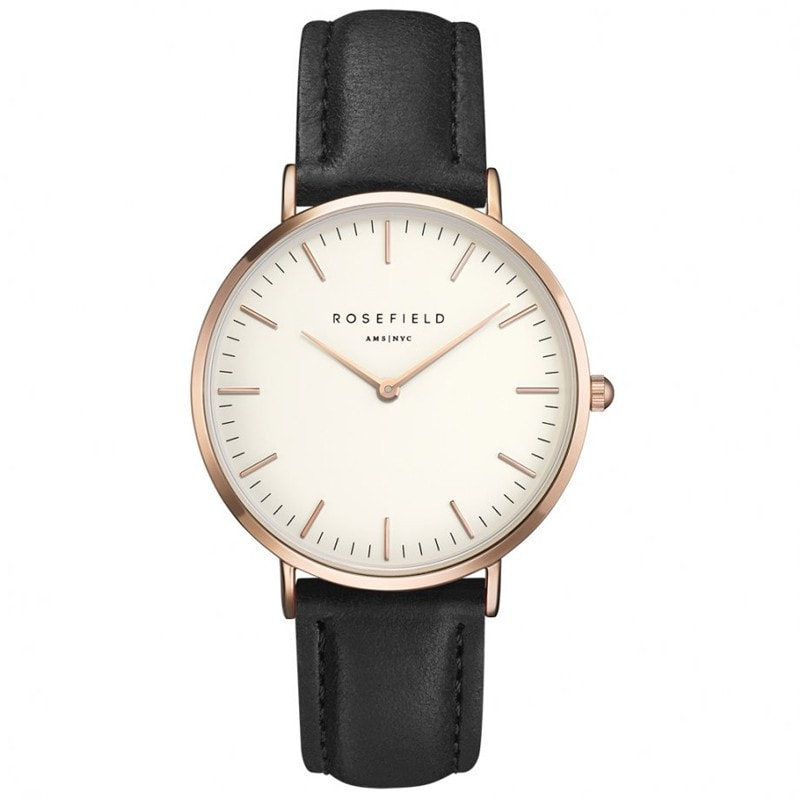 Rosefield Bowery White with Rose Gold on Black Leather Strap Watch